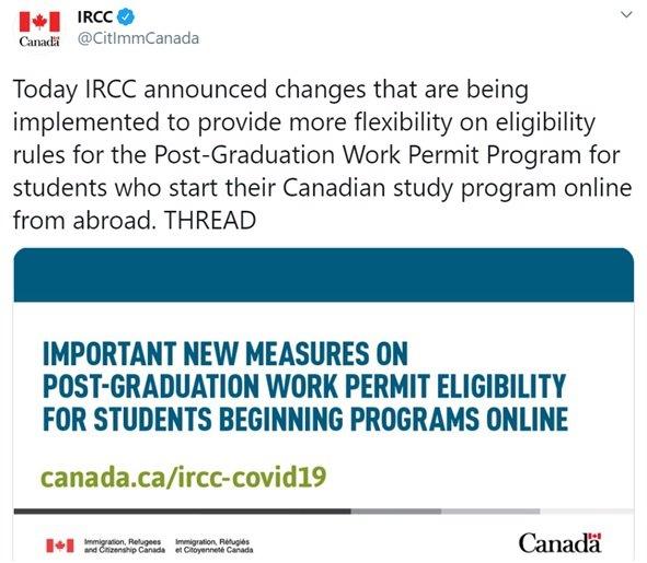 A snapshot of IRCC tweet on international students