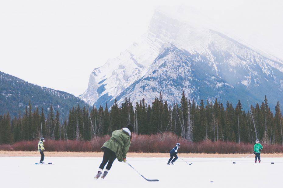 Playing Canadian ice hockey